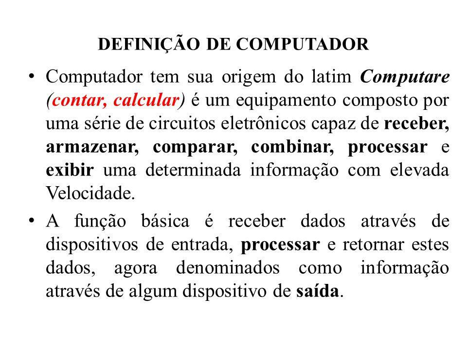 DEFINIÇÃO DE COMPUTADOR • Computador tem sua origem do latim Computare (contar, calcular) é um equipamento composto por uma série de circuitos eletrôn