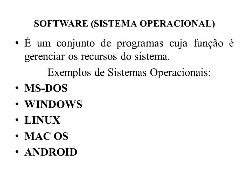 SOFTWARE (SISTEMA OPERACIONAL) • É um conjunto de programas cuja função é gerenciar os recursos do sistema. Exemplos de Sistemas Operacionais: • MS-DO