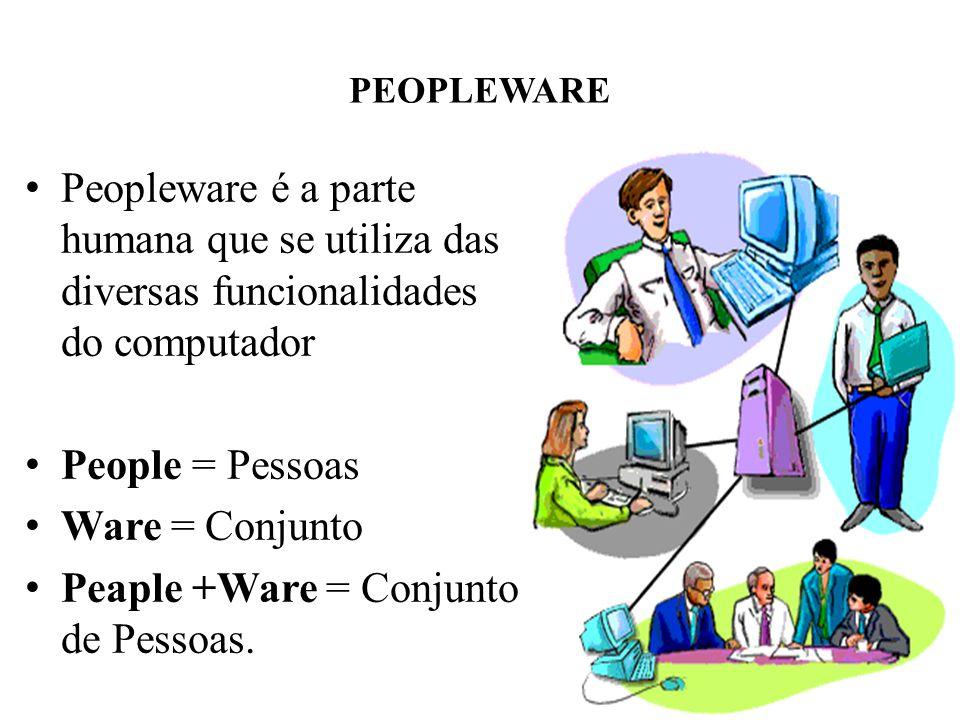 PEOPLEWARE • Peopleware é a parte humana que se utiliza das diversas funcionalidades do computador • People = Pessoas • Ware = Conjunto • Peaple +Ware