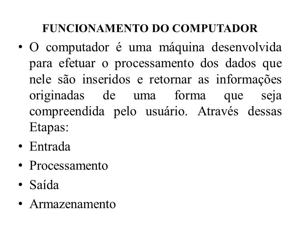 FUNCIONAMENTO DO COMPUTADOR • O computador é uma máquina desenvolvida para efetuar o processamento dos dados que nele são inseridos e retornar as info