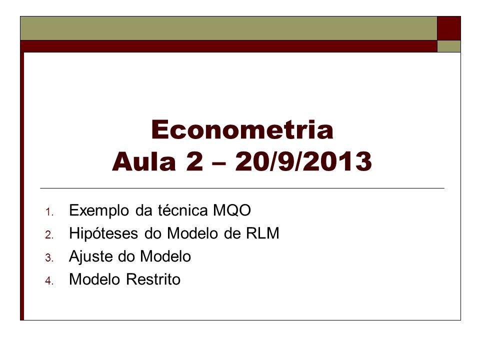 Econometria Aula 2 – 20/9/2013 1. Exemplo da técnica MQO 2. Hipóteses do Modelo de RLM 3. Ajuste do Modelo 4. Modelo Restrito