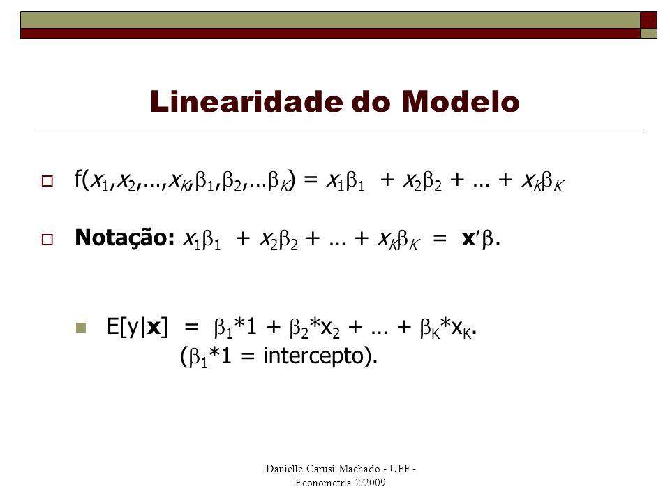 Danielle Carusi Machado - UFF - Econometria 2/2009 Linearidade do Modelo  f(x 1,x 2,…,x K,  1,  2,…  K ) = x 1  1 + x 2  2 + … + x K  K  Notaç