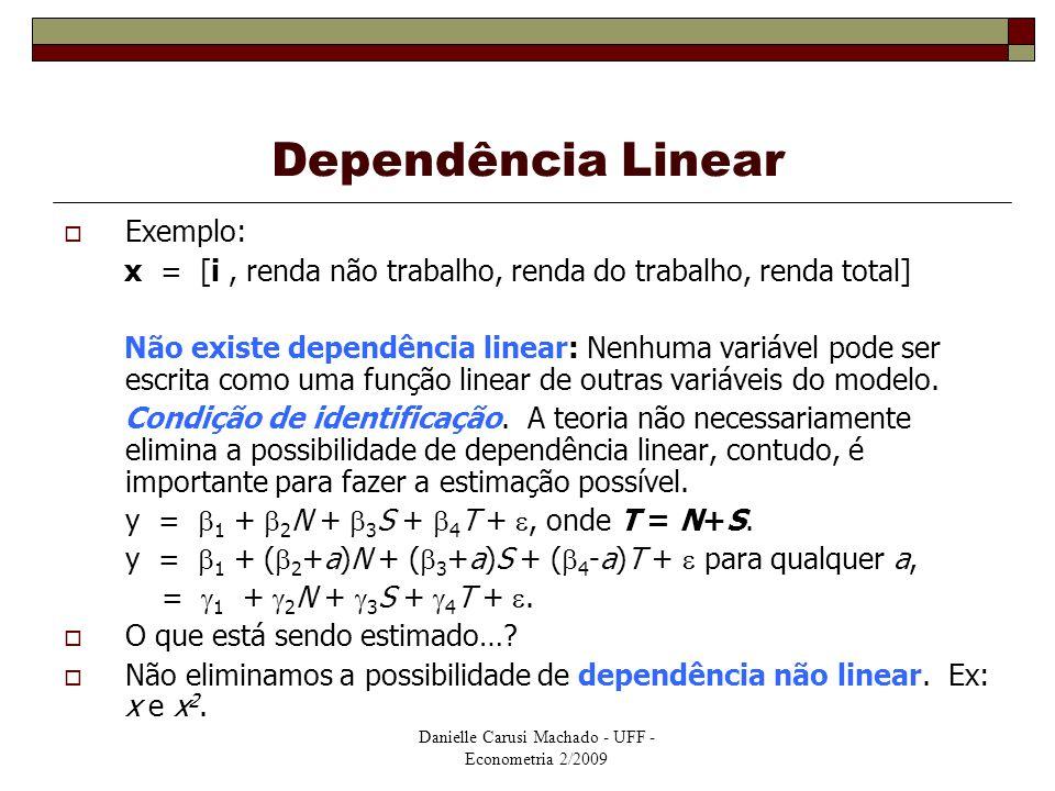 Danielle Carusi Machado - UFF - Econometria 2/2009 Dependência Linear  Exemplo: x = [i, renda não trabalho, renda do trabalho, renda total] Não exist