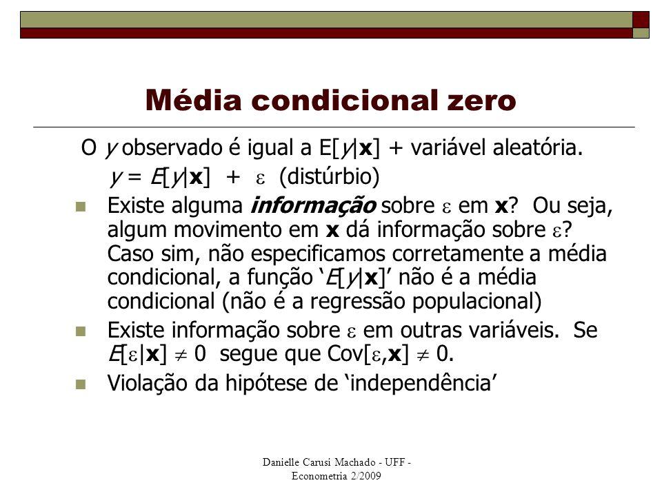 Danielle Carusi Machado - UFF - Econometria 2/2009 Média condicional zero O y observado é igual a E[y|x] + variável aleatória. y = E[y|x] +  (distúrb