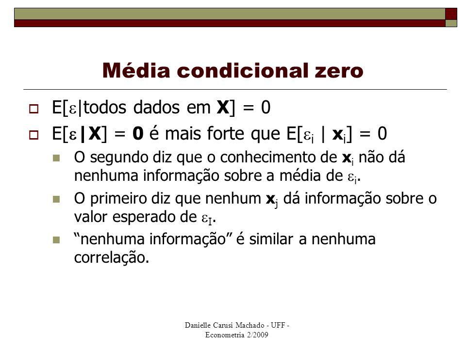 Danielle Carusi Machado - UFF - Econometria 2/2009 Média condicional zero  E[  |todos dados em X] = 0  E[  |X] = 0 é mais forte que E[  i | x i ]
