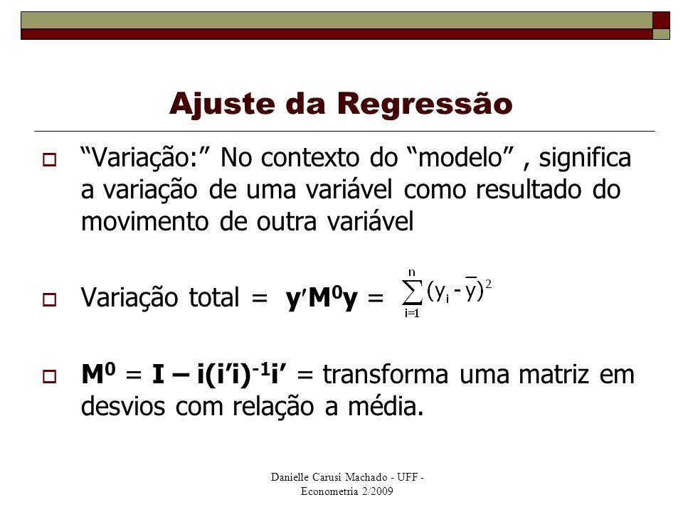 """Ajuste da Regressão  """"Variação:"""" No contexto do """"modelo"""", significa a variação de uma variável como resultado do movimento de outra variável  Variaç"""