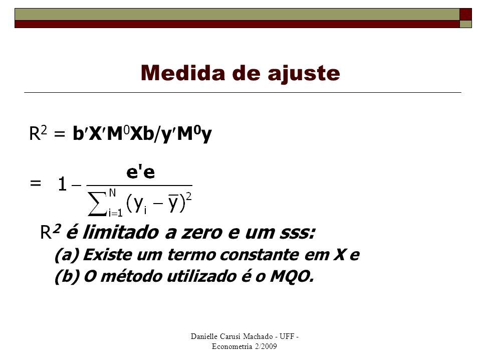 Danielle Carusi Machado - UFF - Econometria 2/2009 Medida de ajuste R 2 = bXM 0 Xb/yM 0 y = R 2 é limitado a zero e um sss: (a) Existe um termo consta