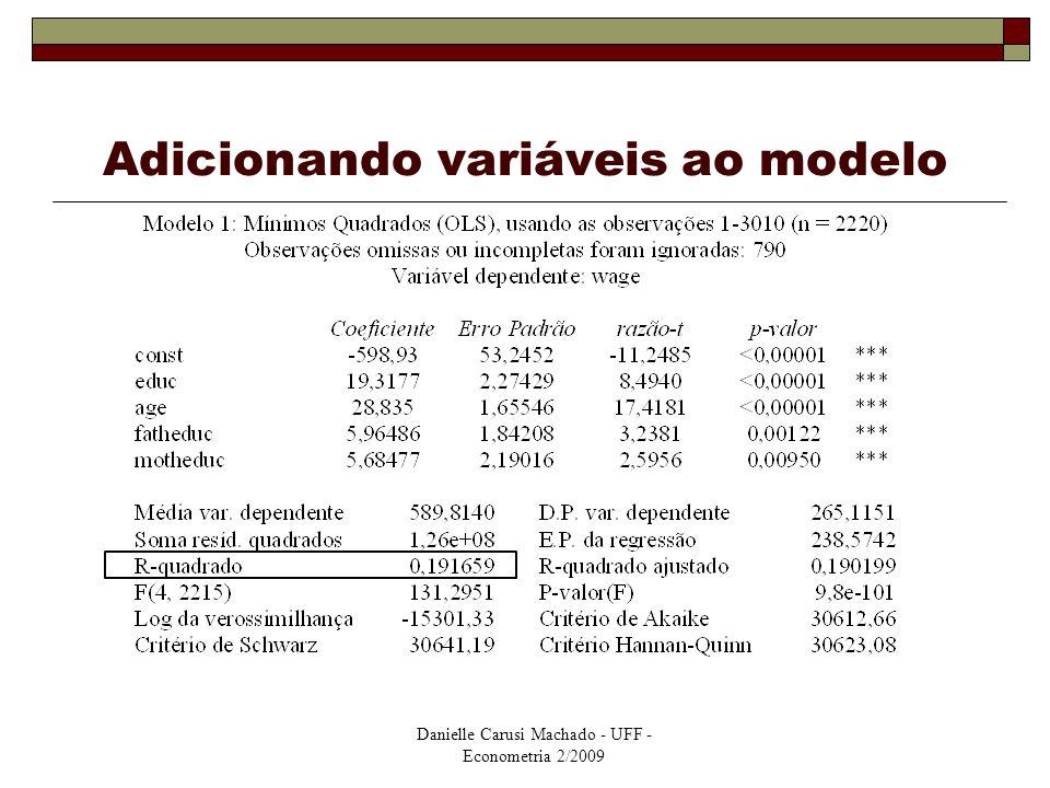 Danielle Carusi Machado - UFF - Econometria 2/2009 Adicionando variáveis ao modelo