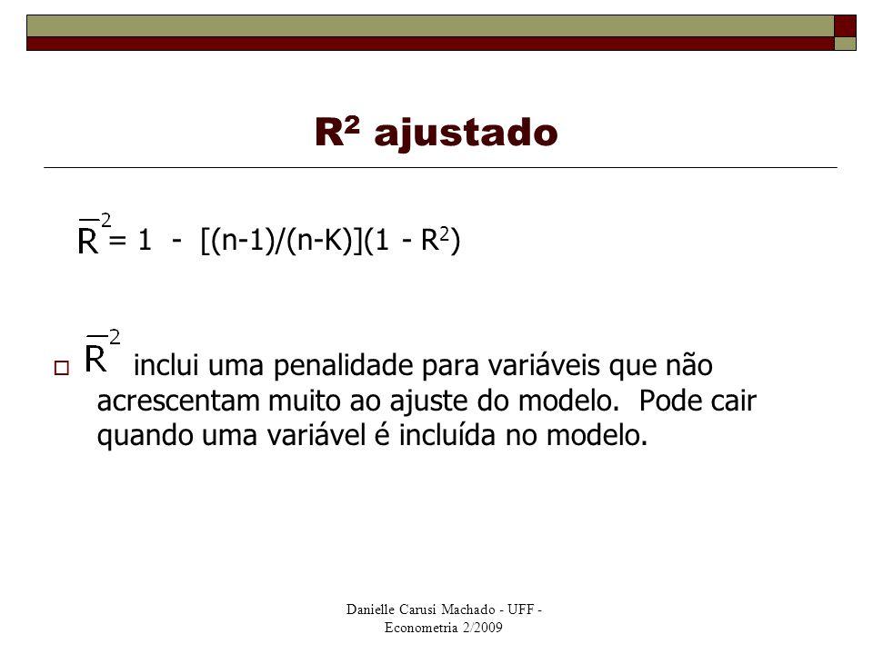 Danielle Carusi Machado - UFF - Econometria 2/2009 R 2 ajustado = 1 - [(n-1)/(n-K)](1 - R 2 )  inclui uma penalidade para variáveis que não acrescent