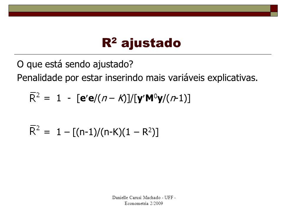 Danielle Carusi Machado - UFF - Econometria 2/2009 R 2 ajustado O que está sendo ajustado? Penalidade por estar inserindo mais variáveis explicativas.