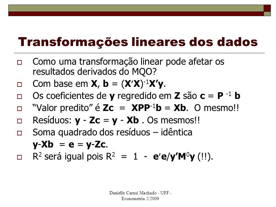 Danielle Carusi Machado - UFF - Econometria 2/2009 Transformações lineares dos dados  Como uma transformação linear pode afetar os resultados derivad