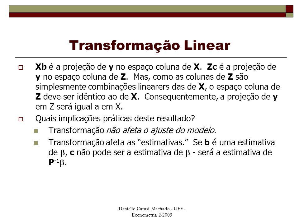 Danielle Carusi Machado - UFF - Econometria 2/2009 Transformação Linear  Xb é a projeção de y no espaço coluna de X. Zc é a projeção de y no espaço c