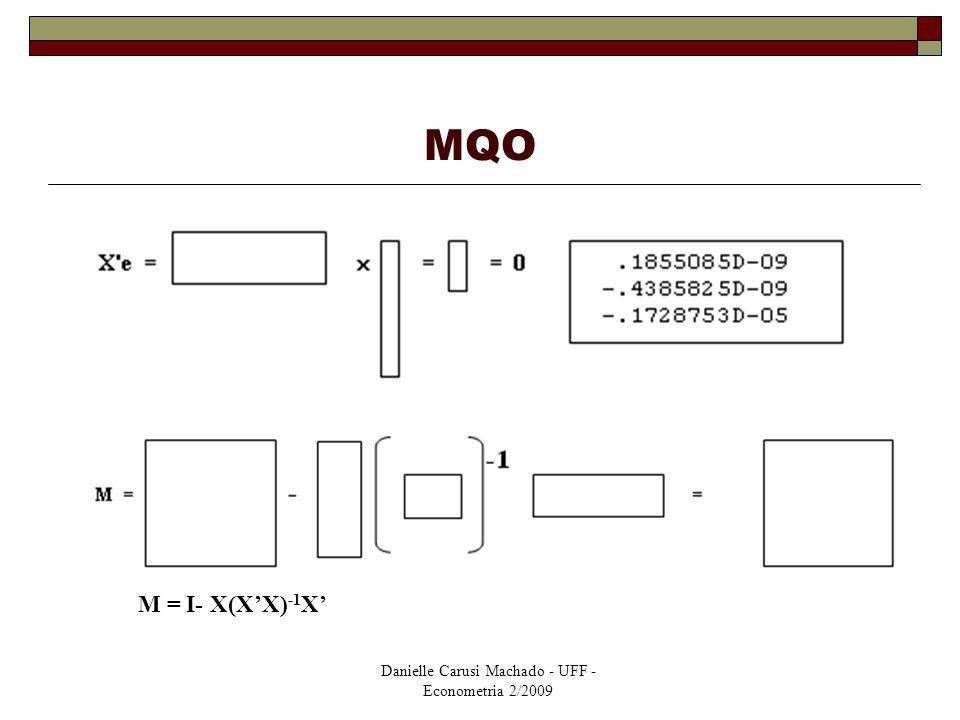 Danielle Carusi Machado - UFF - Econometria 2/2009 MQO M = I- X(X'X) -1 X'