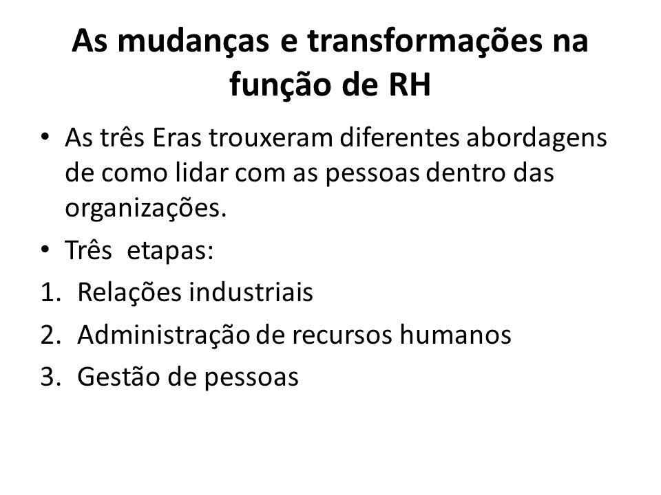 As mudanças e transformações na função de RH • As três Eras trouxeram diferentes abordagens de como lidar com as pessoas dentro das organizações.