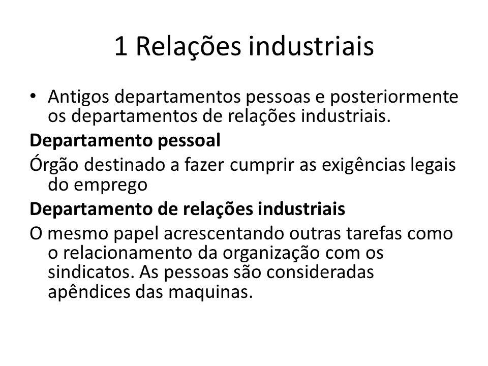 1 Relações industriais • Antigos departamentos pessoas e posteriormente os departamentos de relações industriais.