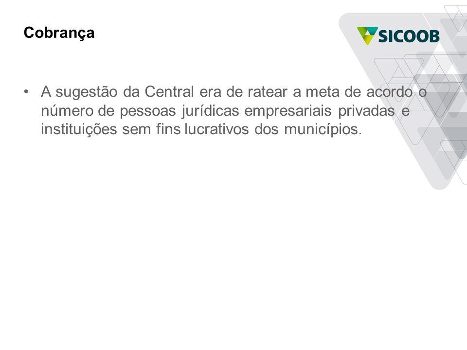 Cobrança •A sugestão da Central era de ratear a meta de acordo o número de pessoas jurídicas empresariais privadas e instituições sem fins lucrativos dos municípios.