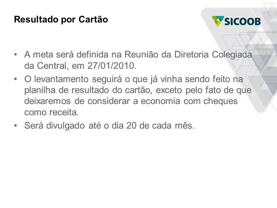 Resultado por Cartão •A meta será definida na Reunião da Diretoria Colegiada da Central, em 27/01/2010.