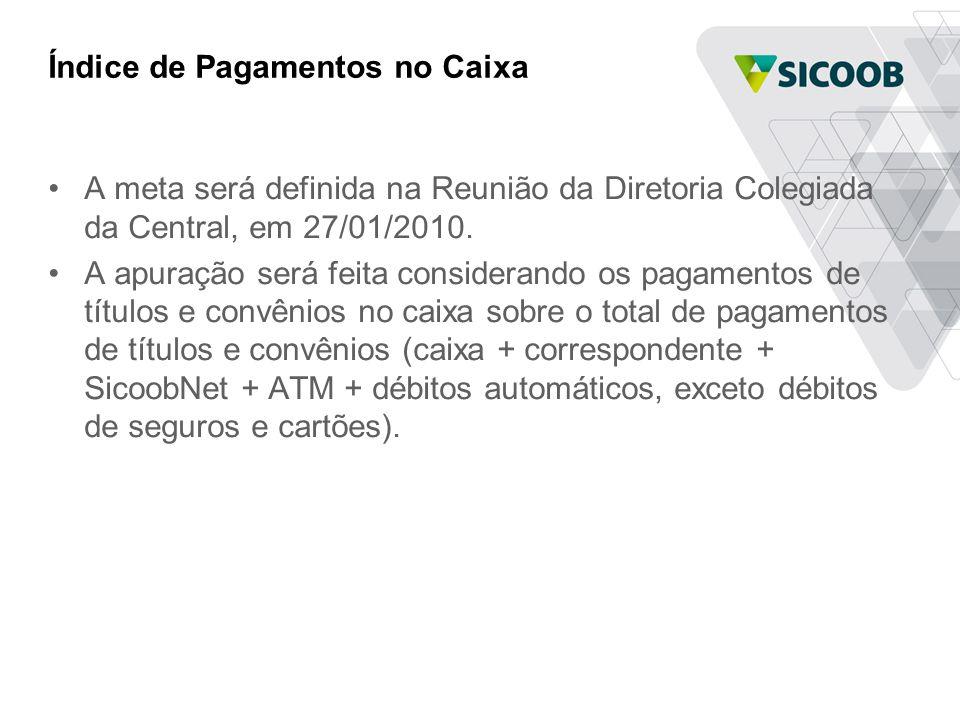 Índice de Pagamentos no Caixa •A meta será definida na Reunião da Diretoria Colegiada da Central, em 27/01/2010.