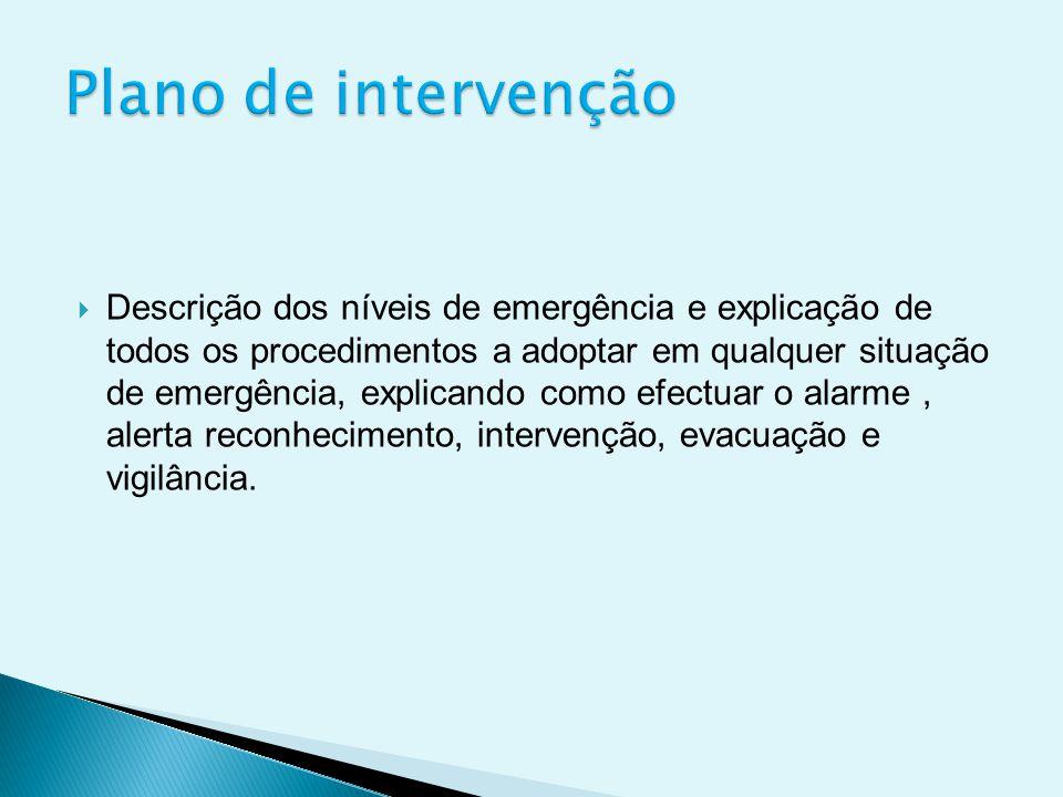  Descrição dos níveis de emergência e explicação de todos os procedimentos a adoptar em qualquer situação de emergência, explicando como efectuar o alarme, alerta reconhecimento, intervenção, evacuação e vigilância.
