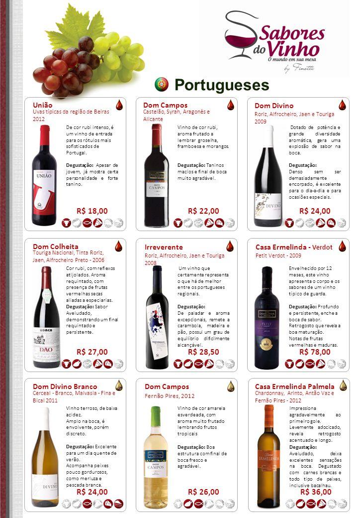 Portugueses Dom Divino Roriz, Alfrocheiro, Jaen e Touriga 2009 R$ 24,00 Dotado de potência e grande diversidade aromática, gera uma explosão de sabor