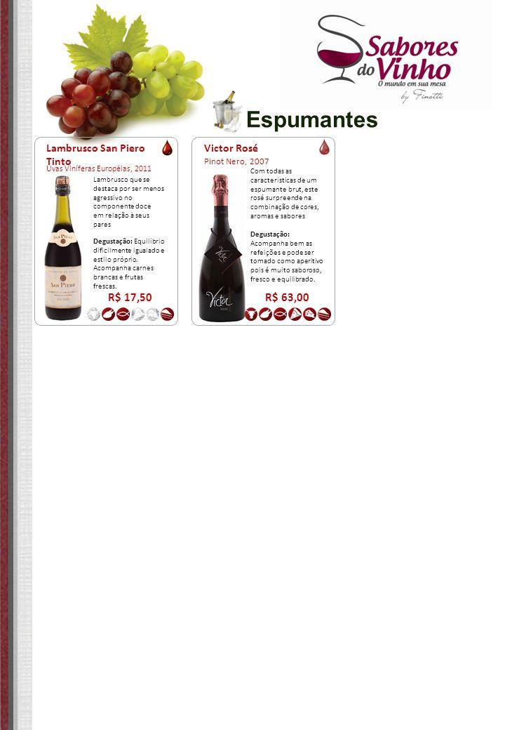 Espumantes Victor Rosé Pinot Nero, 2007 R$ 63,00 Com todas as características de um espumante brut, este rosé surpreende na combinação de cores, aroma