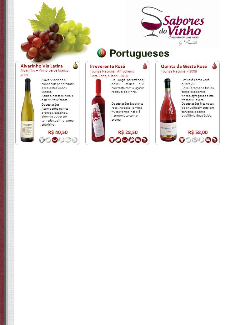 Portugueses Irreverente Rosé Touriga Nacional, Alfrocheiro Tinta Roriz, e Jaen - 2010 R$ 28,50 De longa persistência, possui acidez que contrasta com