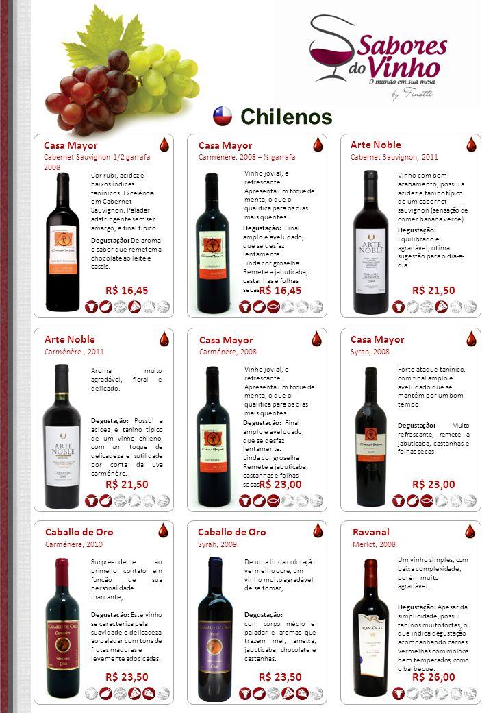 Chilenos Arte Noble Cabernet Sauvignon, 2011 R$ 21,50 Vinho com bom acabamento, possui a acidez e tanino típico de um cabernet sauvignon (sensação de
