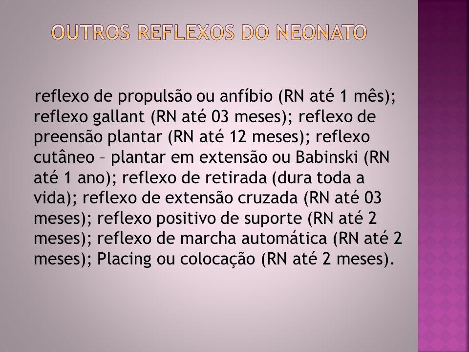 reflexo de propulsão ou anfíbio (RN até 1 mês); reflexo gallant (RN até 03 meses); reflexo de preensão plantar (RN até 12 meses); reflexo cutâneo – pl