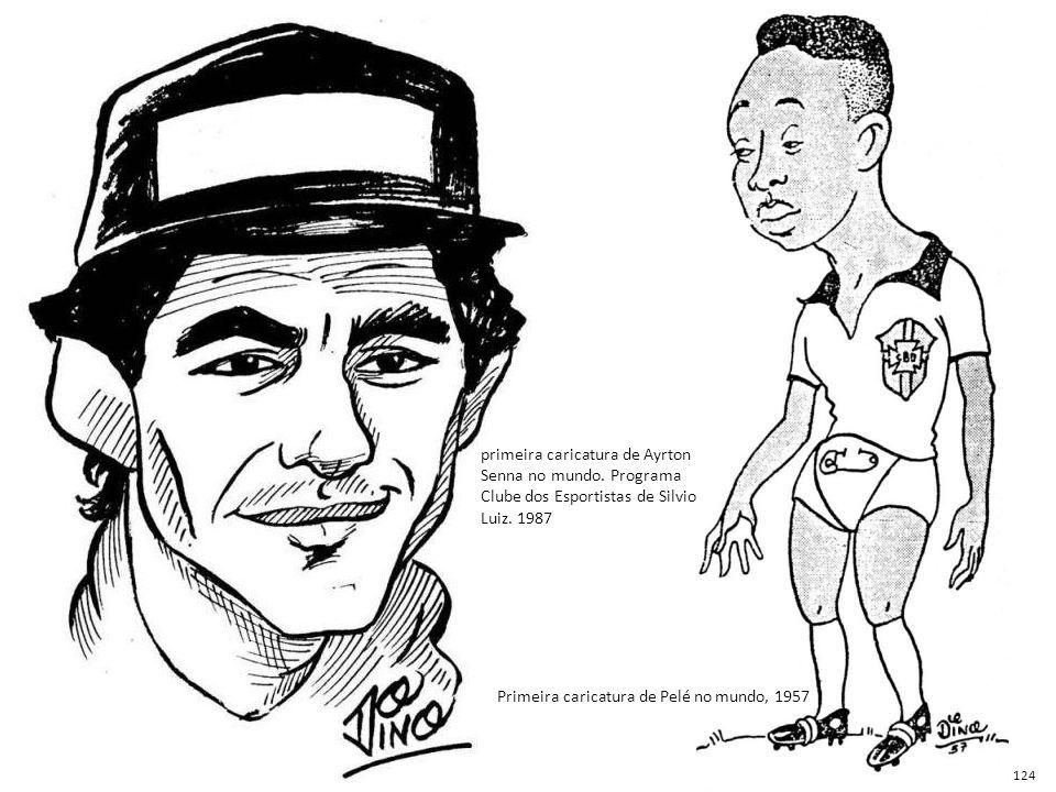 Primeira caricatura de Pelé no mundo, 1957 primeira caricatura de Ayrton Senna no mundo. Programa Clube dos Esportistas de Silvio Luiz. 1987 124