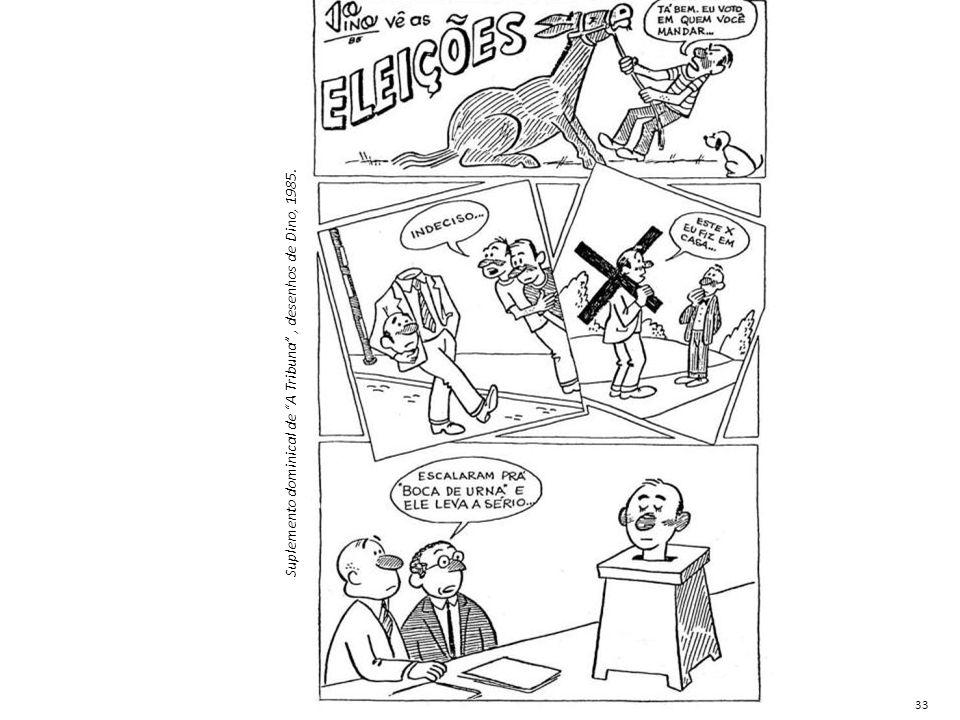 """Suplemento dominical de """"A Tribuna"""", desenhos de Dino, 1985. 33"""