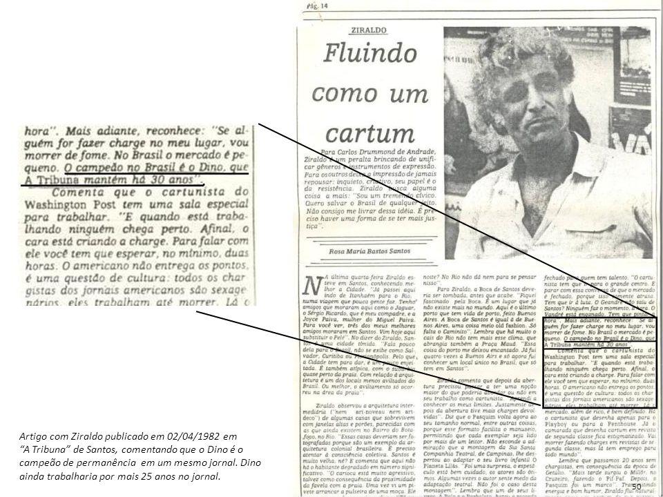 """Artigo com Ziraldo publicado em 02/04/1982 em """"A Tribuna"""" de Santos, comentando que o Dino é o campeão de permanência em um mesmo jornal. Dino ainda t"""