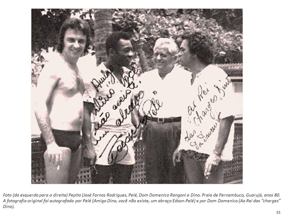 Foto (da esquerda para a direita) Pepito (José Fornos Rodrigues, Pelé, Dom Domenico Rangoni e Dino. Praia de Pernambuco, Guarujá, anos 80. A fotografi