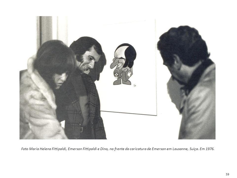 Foto Maria Helena Fittipaldi, Emerson Fittipaldi e Dino, na frente da caricatura de Emerson em Lausanne, Suiça. Em 1976. 59