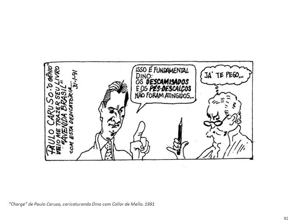 """""""Charge"""" de Paulo Caruso, caricaturando Dino com Collor de Mello. 1991 62"""