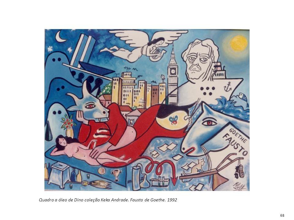 Quadro a óleo de Dino coleção Keka Andrade. Fausto de Goethe. 1992 68