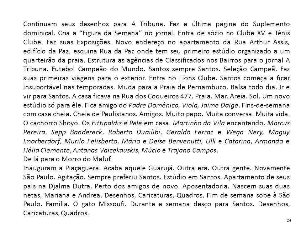 """Continuam seus desenhos para A Tribuna. Faz a última página do Suplemento dominical. Cria a """"Figura da Semana"""" no jornal. Entra de sócio no Clube XV e"""