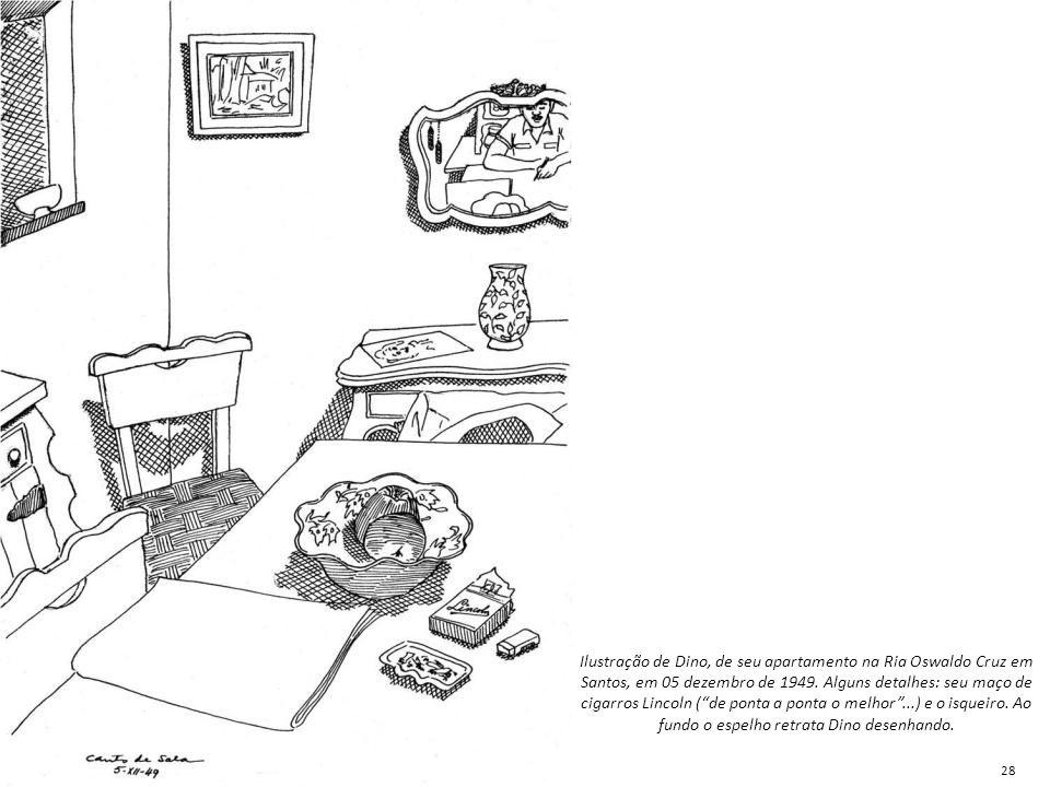 """Ilustração de Dino, de seu apartamento na Ria Oswaldo Cruz em Santos, em 05 dezembro de 1949. Alguns detalhes: seu maço de cigarros Lincoln (""""de ponta"""