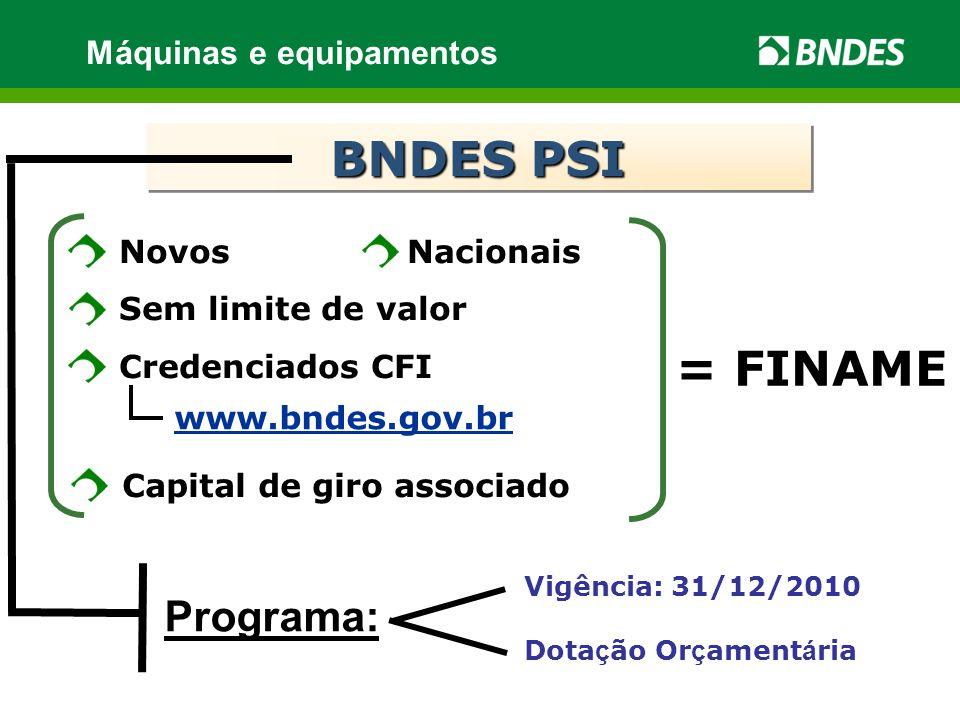 www.bndes.gov.br NovosNacionais Sem limite de valor Credenciados CFI Máquinas e equipamentos Capital de giro associado = FINAME BNDES PSI Dota ç ão Or ç ament á ria Programa: Vigência: 31/12/2010