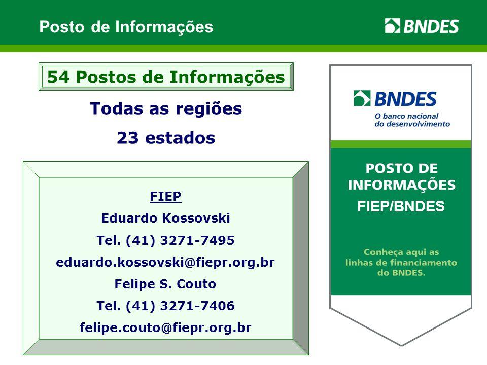 Todas as regiões 23 estados 54 Postos de Informações XXXXX / BNDES FIEP Eduardo Kossovski Tel.