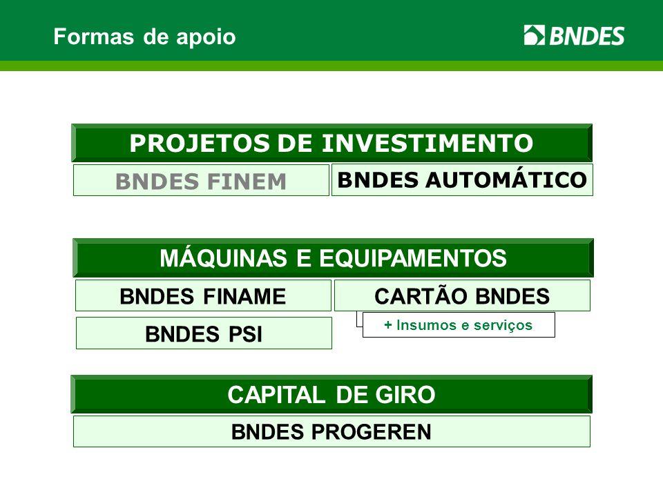 PROJETOS DE INVESTIMENTO BNDES FINEM BNDES AUTOMÁTICO Formas de apoio + Insumos e serviços CAPITAL DE GIRO BNDES PROGEREN MÁQUINAS E EQUIPAMENTOS BNDES FINAME CARTÃO BNDES + Insumos e serviços BNDES PSI