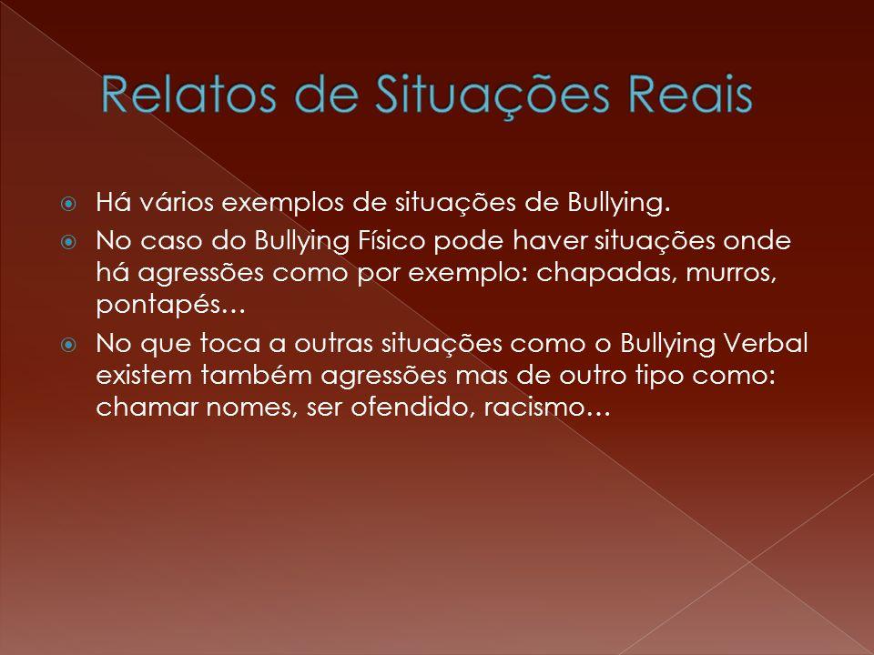  Há vários exemplos de situações de Bullying.  No caso do Bullying Físico pode haver situações onde há agressões como por exemplo: chapadas, murros,