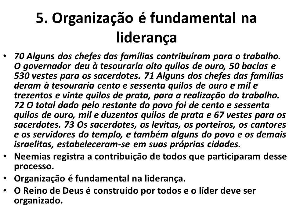 5. Organização é fundamental na liderança • 70 Alguns dos chefes das famílias contribuíram para o trabalho. O governador deu à tesouraria oito quilos