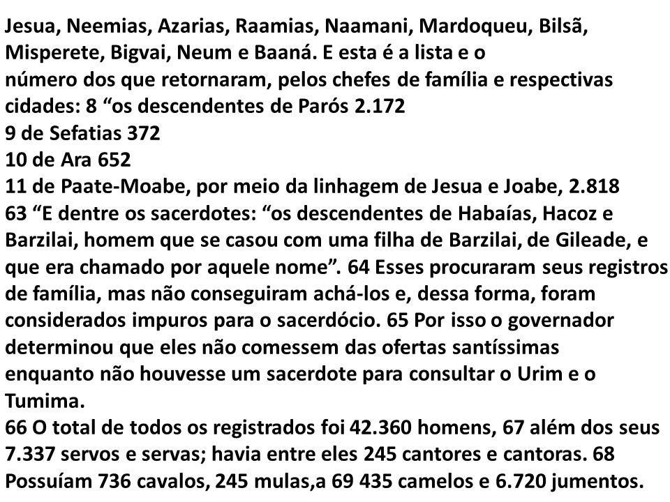 Jesua, Neemias, Azarias, Raamias, Naamani, Mardoqueu, Bilsã, Misperete, Bigvai, Neum e Baaná. E esta é a lista e o número dos que retornaram, pelos ch