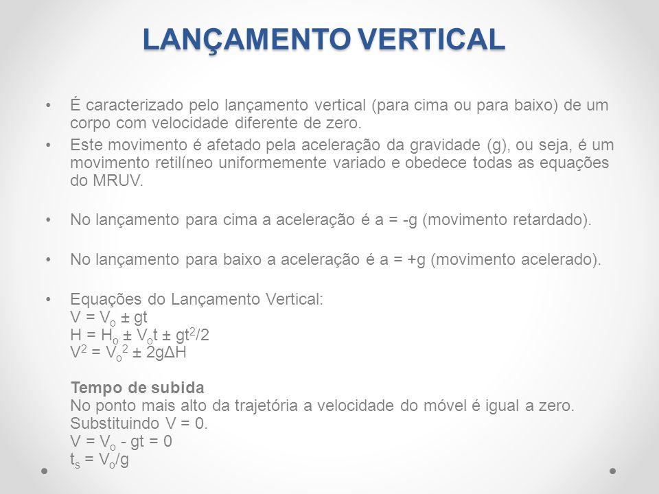 •É caracterizado pelo lançamento vertical (para cima ou para baixo) de um corpo com velocidade diferente de zero. •Este movimento é afetado pela acele