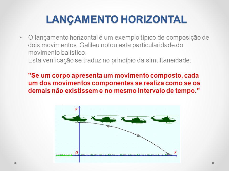 •O lançamento horizontal é um exemplo típico de composição de dois movimentos. Galileu notou esta particularidade do movimento balístico. Esta verific