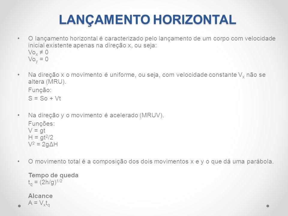 LANÇAMENTO HORIZONTAL •O lançamento horizontal é caracterizado pelo lançamento de um corpo com velocidade inicial existente apenas na direção x, ou se