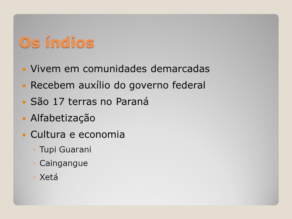 Os índios  Vivem em comunidades demarcadas  Recebem auxílio do governo federal  São 17 terras no Paraná  Alfabetização  Cultura e economia ◦Tupi