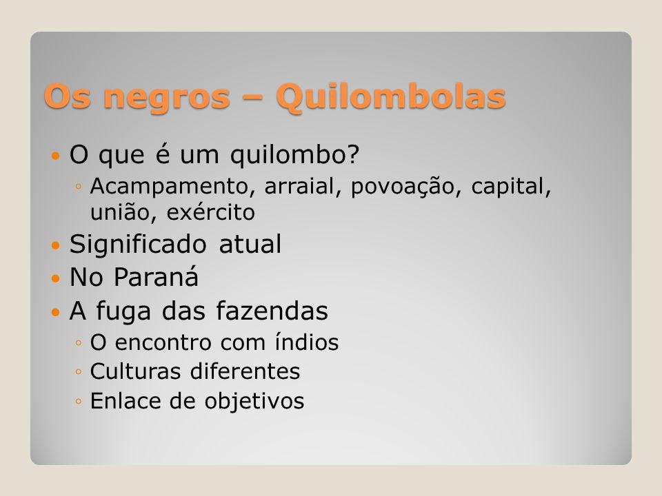 Os negros – Quilombolas  O que é um quilombo? ◦Acampamento, arraial, povoação, capital, união, exército  Significado atual  No Paraná  A fuga das
