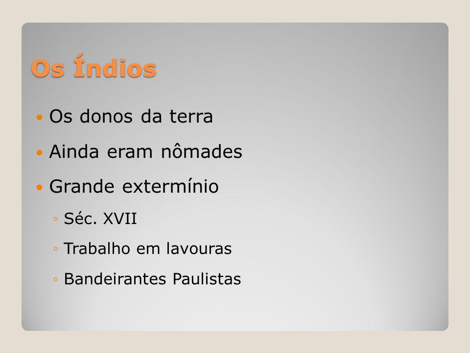 Os Índios  Os donos da terra  Ainda eram nômades  Grande extermínio ◦Séc. XVII ◦Trabalho em lavouras ◦Bandeirantes Paulistas