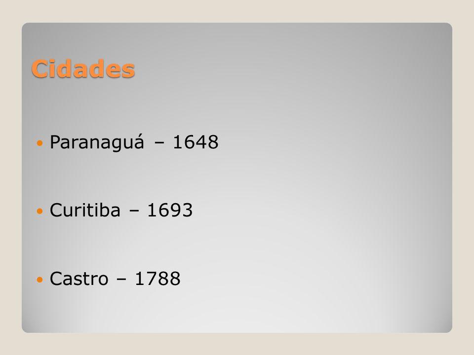 Cidades  Paranaguá – 1648  Curitiba – 1693  Castro – 1788